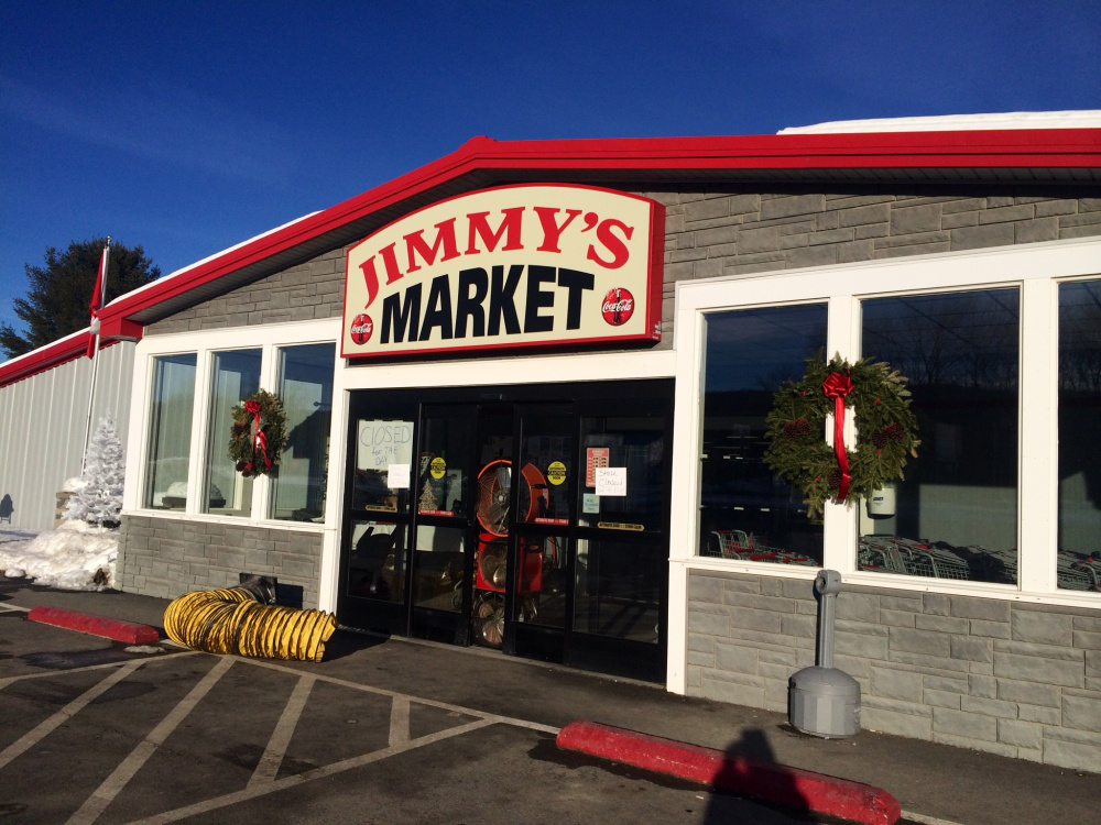 Jimmy's Market, on U.S. Route 201 in Bingham, was closed Wednesday after a fire in a construction area damaged the building.