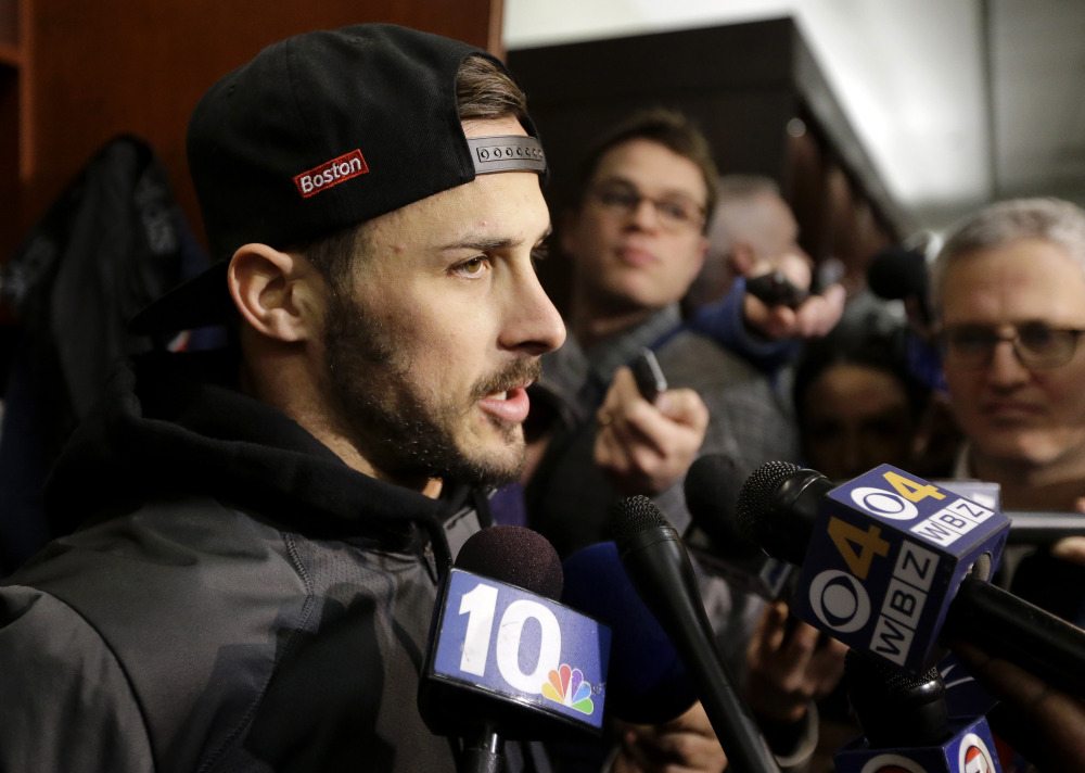 New England Patriots wide receiver Danny Amendola speaks with reporters in the team's locker room at Gillette Stadium on Wednesday after practice in Foxborough, Massachusetts.