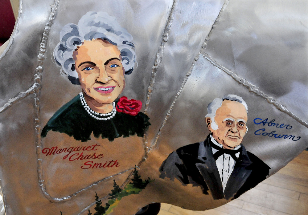 Artwork of famous Skowhegan natives, including Sen. Margaret Chase Smith and Gov. Abner Coburn, are painted on a metal sculpture of a shoe that may be taken out of storage and placed in a municipal parking lot.