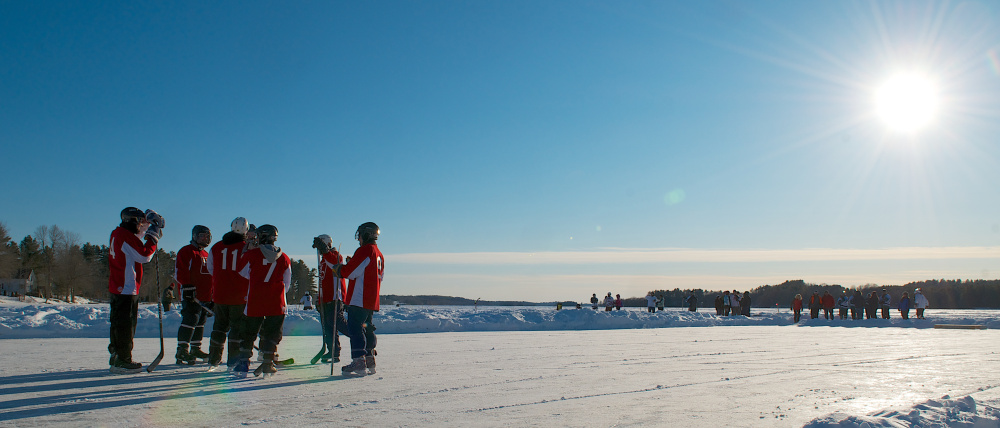 Contributed photo The Hart Construction team meets on the ice during last year's tournament.