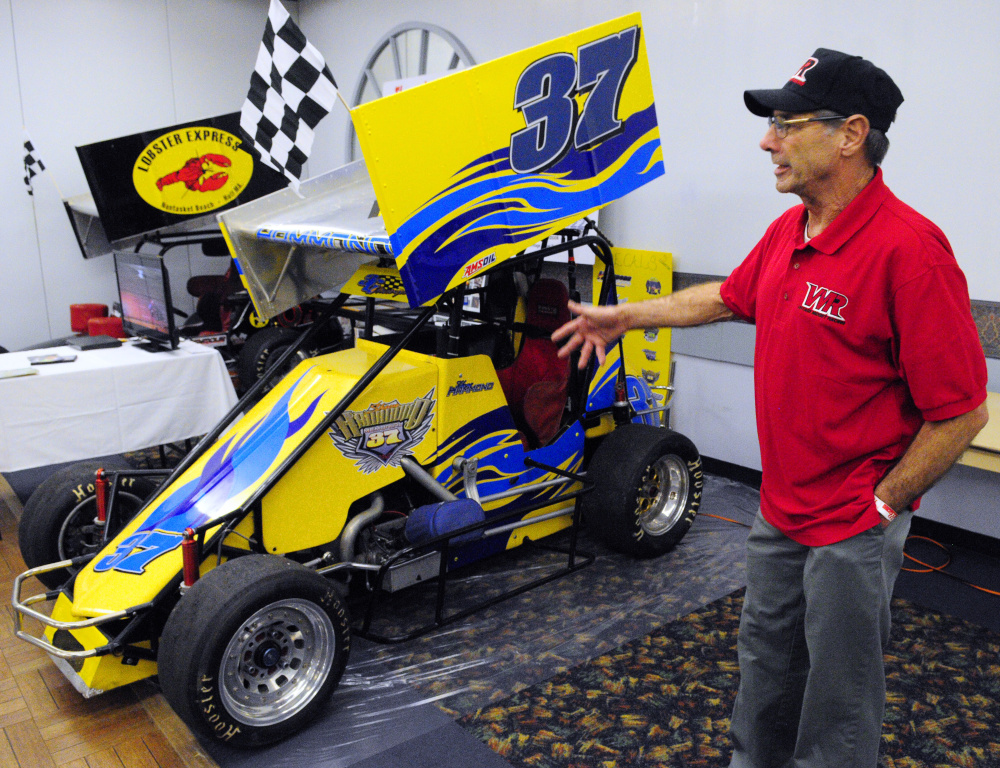 Bobby White, 69 of Scituate, Massachusetts, talks about vintage midget car racing during the Northeast Motorsports Expo on Friday in the Augusta Civic Center.