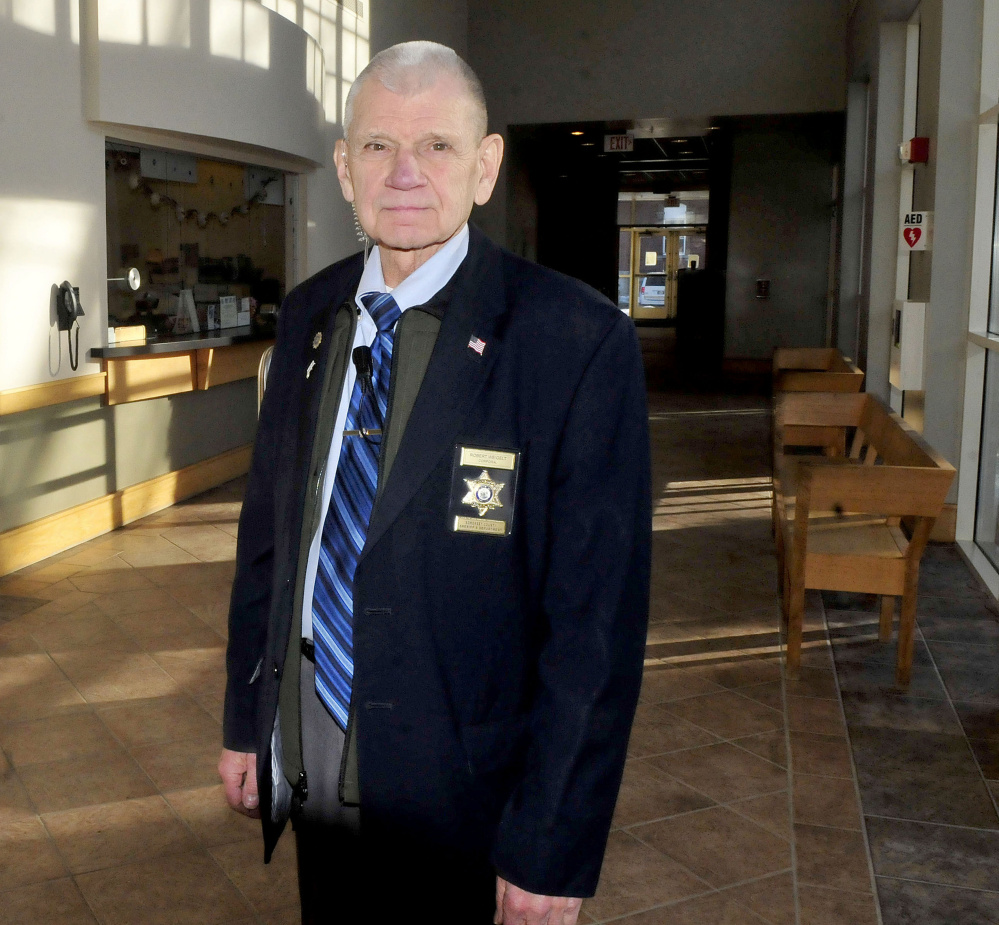 Cpl. Bob Weigelt, of the Somerset County Sheriff Department, has been named the 2015 Roy Rice award winner, given for exemplary service for court security. Weigelt, of Jackman, is standing in the lobby of the Skowhegan District Courthouse.