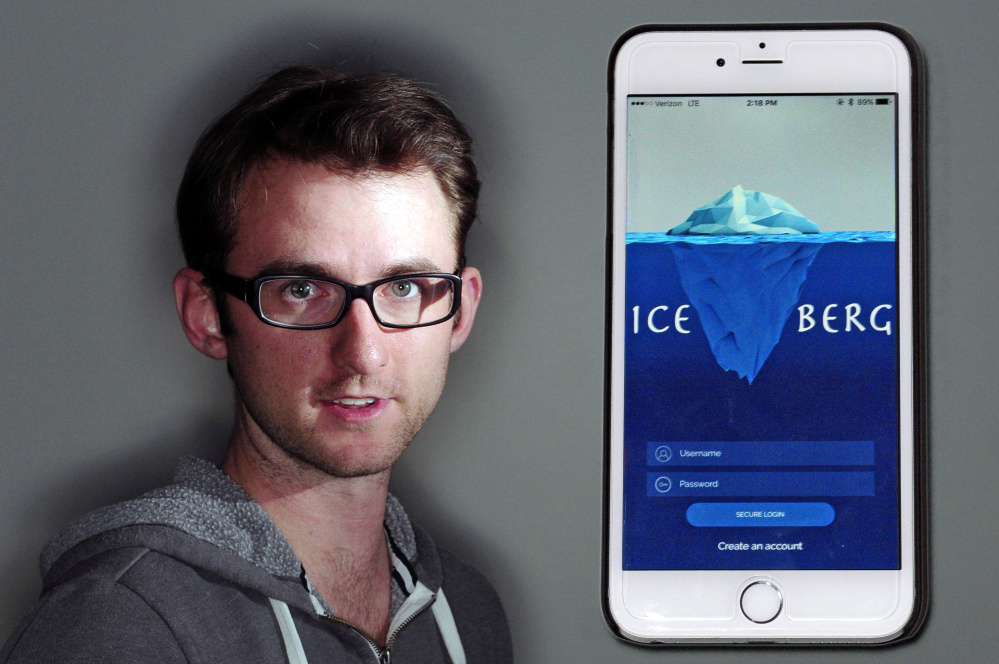 This photo illustration shows Chris Voynik and the app he created called Ice-Berg on Wednesday in Augusta.