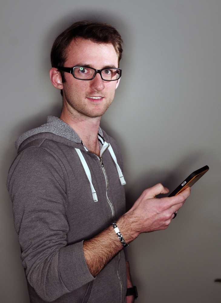 Chris Voynik, who created the Ice-Berg app, poses for a portrait on Wednesday in Augusta.