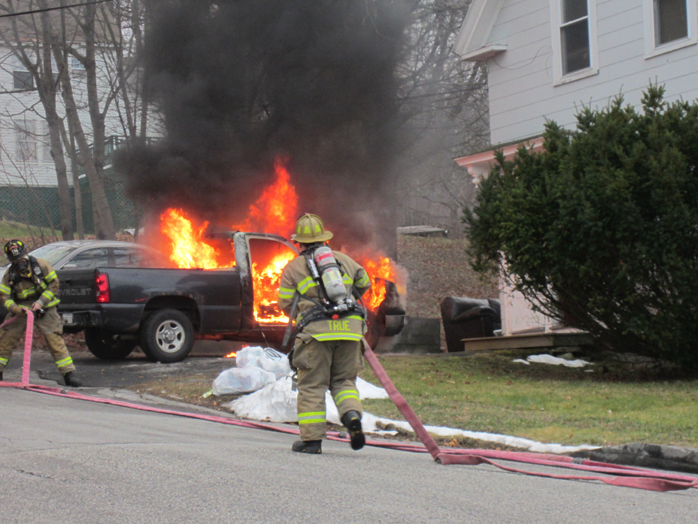 Augusta firefighters responded to Pearl Street about 6:40 a.m. Monday to put out a truck fire.