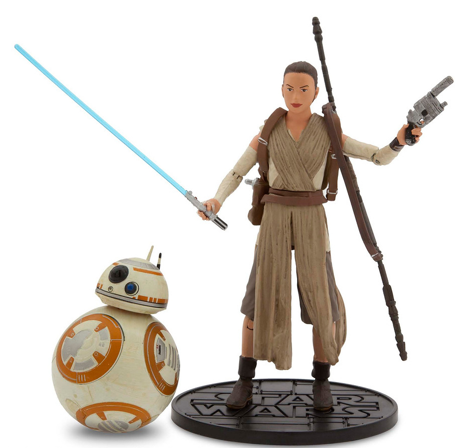"This photo provided by Disney Consumer Products shows Rey, right, and BB-8 Elite Series Die Cast Action Figures from ""Star Wars: The Force Awakens"" by Disney Store."