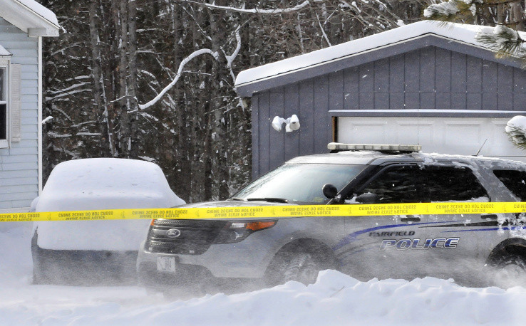 A Fairfield police cruiser on Wednesday is parked in front of a garage off Norridgewock Road where Maine State Police discovered what they described as the remains of a recent pregnancy.