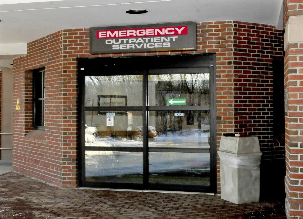 The entrance to the emergency department at Redington-Fairview General Hospital in Skowhegan is seen on Wednesday. Soon, a full-time police officer may be stationed at the department.