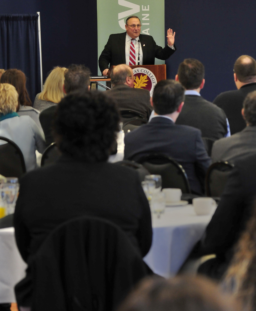Gov. Paul LePage speaks about his ideas to help the state be more prosperous during a Mid-Maine Chamber of Commerce business breakfast series at Thomas College in Waterville on Thursday morning.