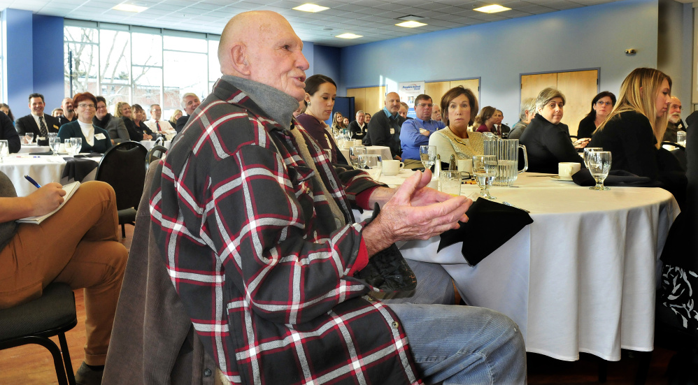Russ Vesecky of Waterville asks Gov. Paul LePage a question during a Mid-Maine Chamber of Commerce business breakfast series at Thomas College in Waterville on Thursday morning.