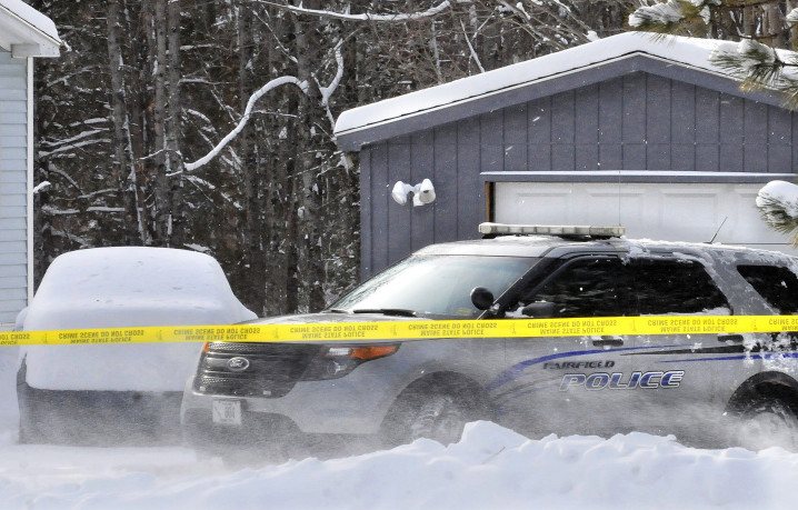 A Fairfield police cruiser on Wednesday was parked in front of a garage off Norridgewock Road, where Maine State Police discovered what they described as the remains of a full-term baby boy.