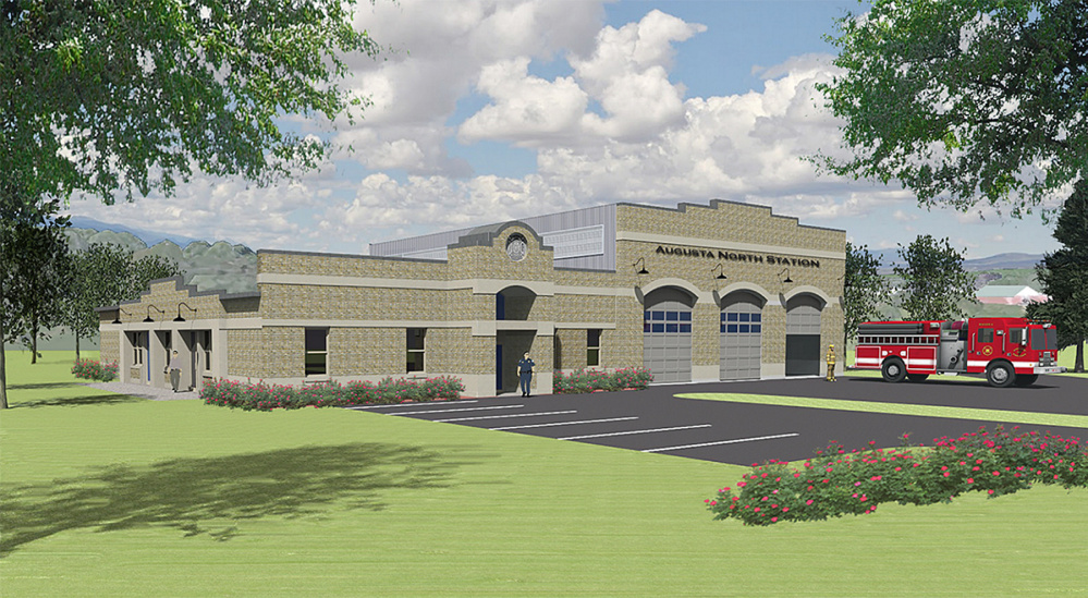 An artist's rendering of the new fire station proposed to be built on land the city owns on Leighton Road.