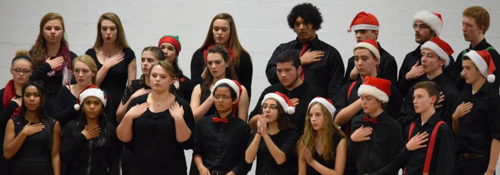 The Hall-Dale High School Jazz Choir performing at the winter concert in December. In front, from left, are Thea Sweet, Dani Sweet, Julia Stahlnecker, Becca Freed-Barlow, Anna Schaab, Annie Wilson, Will Fahy and Eli Smith. Middle row, from left, are Maggie Gross, Maggie Pomerleau, Lexi LaRochelle Amanda Peterson, Adrian Harrington, Eben Jovin, Jacob Crockett and Micah Thomas. In back, from left, are Grace Begin, Mari Smith Tess Gioia, Amanda Benner Josh Noreiga-Allen, Kierran Dionne, Liam Walp and Dean Jackman.
