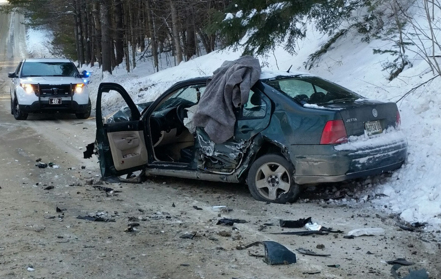 The Volkswagen Jetta that struck a Regional School Unit 9 bus Tuesday afternoon on Route 134, Starks Road, in New Sharon, seen here, sustained extensive damage. No one was injured in the crash.