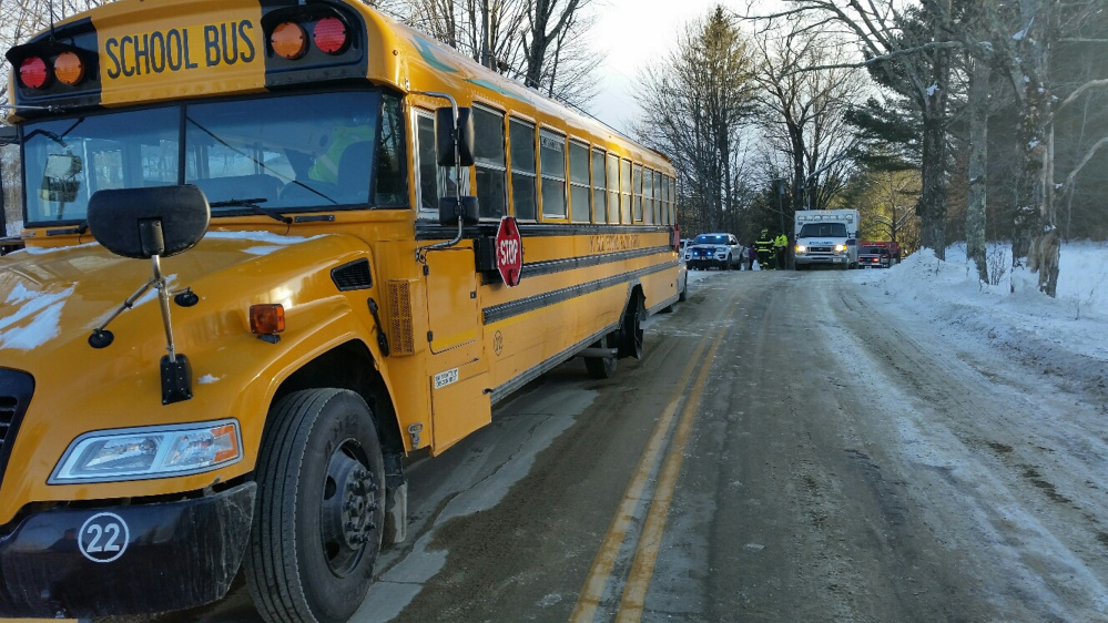 A Regional School Unit 9 bus Tuesday afternoon struck by a car on Route 134, Starks Road, in New Sharon sustained little damage. No students were hurt.