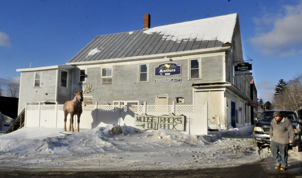The long-vacant Antlers Inn on Main Street in Bingham, seen Wednesday, may be torn down by the town.