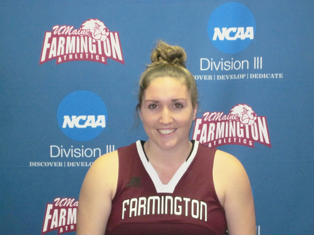 Contributed photo University of Maine-Farmington senior Meghan Smith has changed her game in her time with the Beavers, evolving from just a post player to one who is also dangerous on the perimeter. On the season she is averaging 15.6 points and 10.9 rebounds per game.