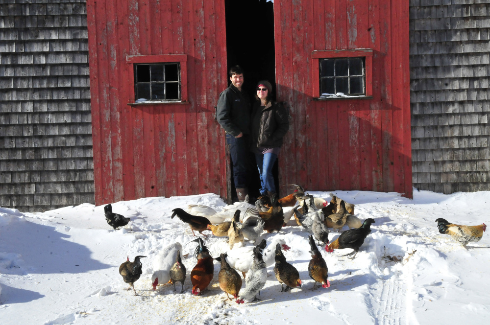 "Andrew and Ann Mefferd grow and market organic vegetables and raise their own chickens at their One Drop Farm in Cornville. They have also just bought the national magazine ""Growing for Market,"" which they are producing out of their farmhouse."