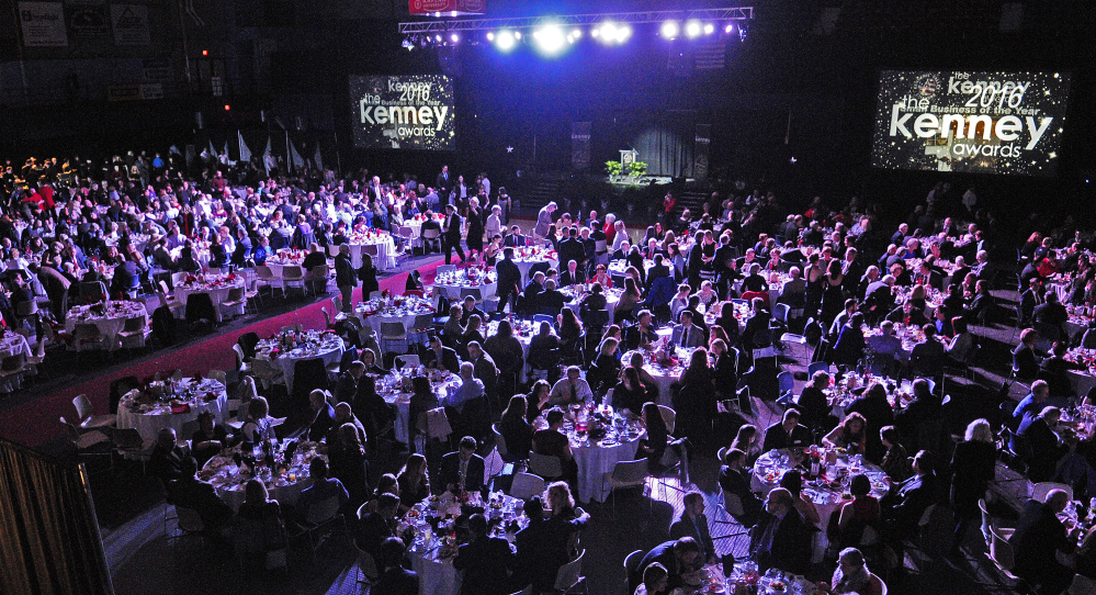 People eat dinner before the awards are announced at the Kenney Awards on Friday at the Augusta Civic Center.
