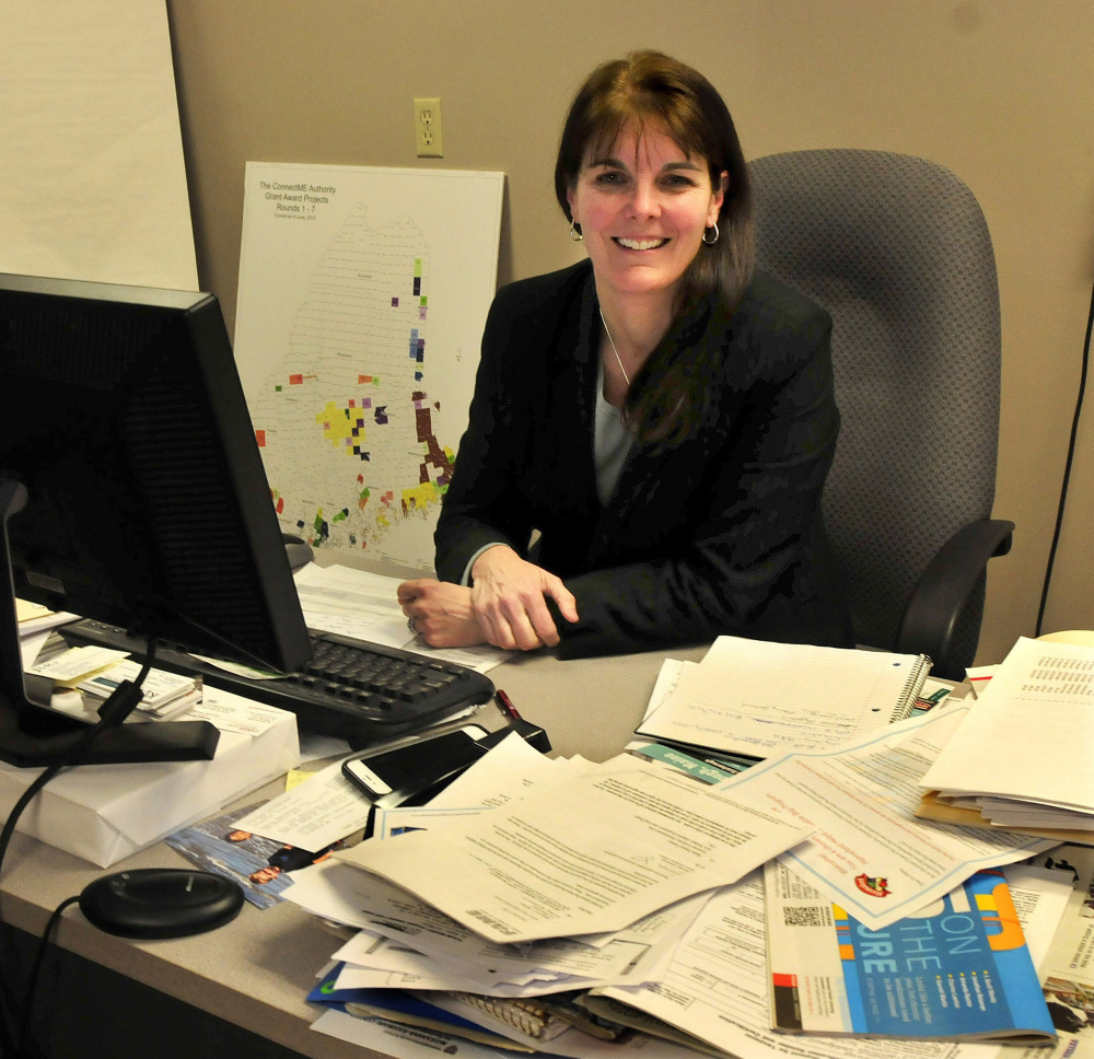 Heather Johnson, the new executive director of the Somerset Economic Development Corp., in her office in Skowhegan on Thursday.