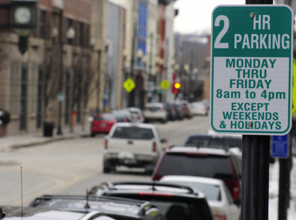 Most of the parking spots in downtown Augusta on Water Street now have a two-hour limit.