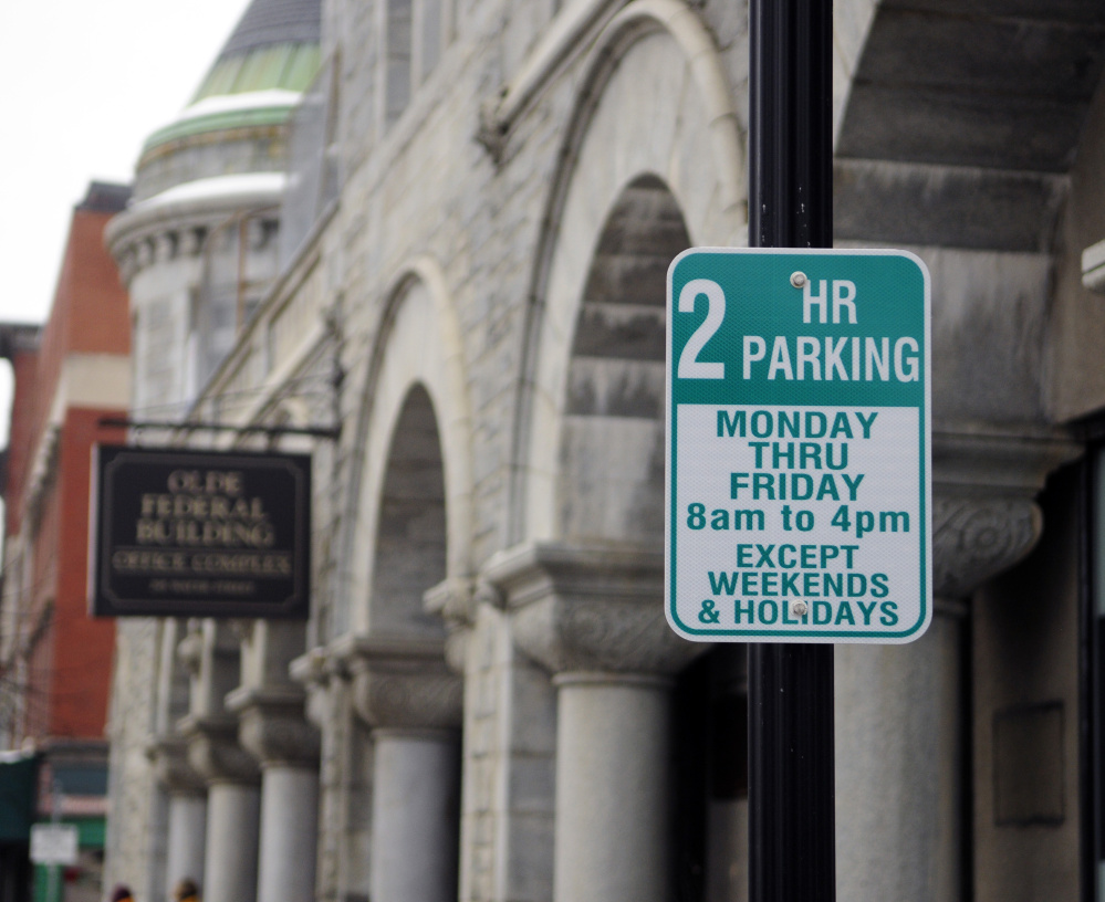 The new two-hour parking signs on Water Street in downtown Augusta.
