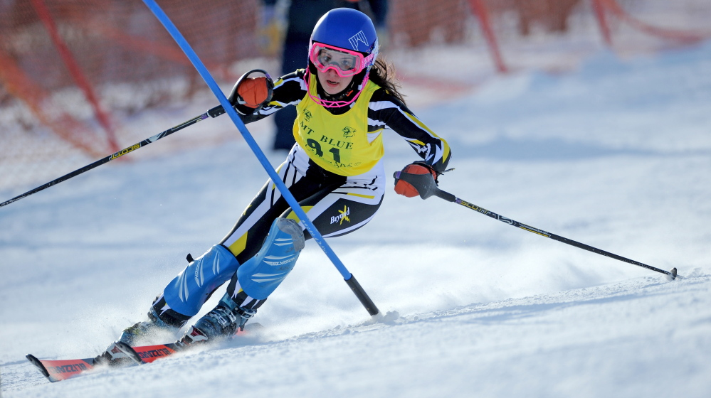 Maranacook's Erin Guilmet competes in an alpine event at the KVAC/MVC championships last season at Titcomb Mountain in Farmington. Guilmet was lost for the season in December due to a torn ACL.
