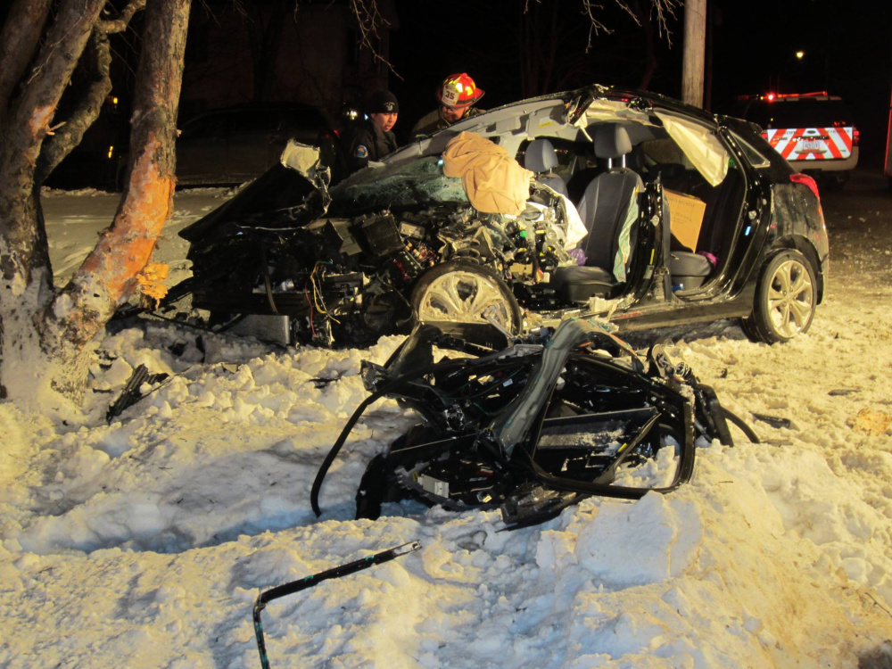 This crash on Greenville Street in Hallowell on Sunday sent two people to the hospital.