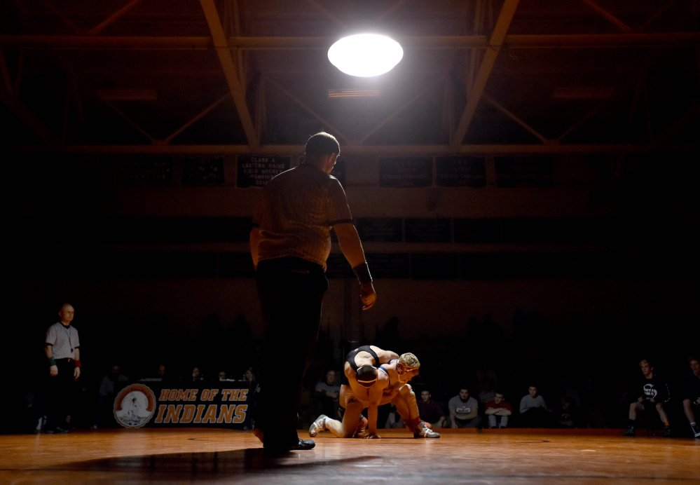 Skowhegan Area High School's Julian Sirois, top, wrestles Messalonskee's Austin Pelletier in the 154-pound bout in Skowhegan earlier this season. Both wrestlers are poised for strong showings at the Kennebec Valley Athletic Conference championships Saturday at Cony.