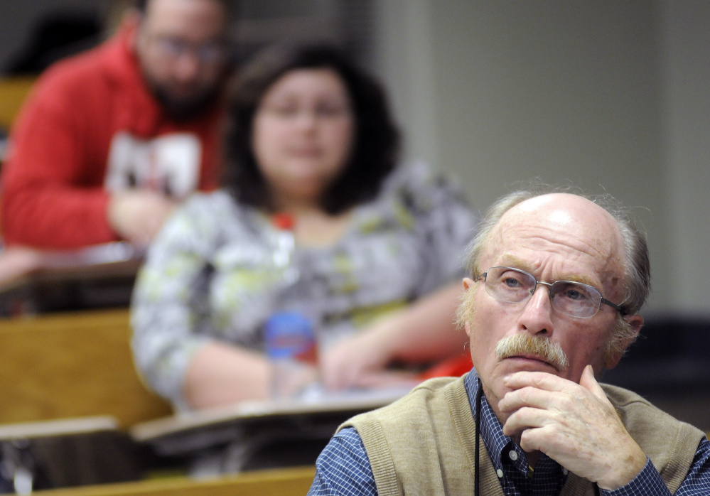 George Van Deventer, 80, listens to a lecture last week during a U.S. History II class at the University of Maine at Augusta.