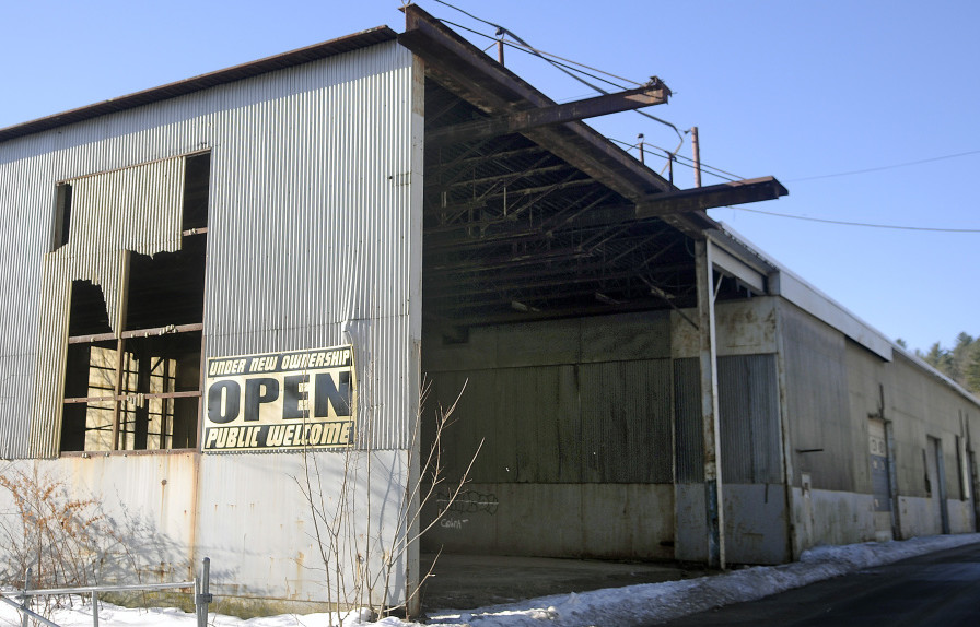 A former T.W. Dick fabrication building in Gardiner, shown in this Thursday photo, is targeted for redevelopment and a possible future as part of a new medical facility for MaineGeneral Health.