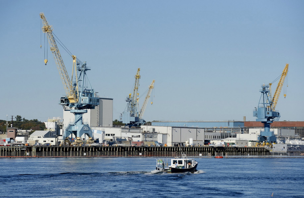 Portsmouth Naval Shipyard, located on an island in the Piscataqua River in Kittery, overhauls nuclear submarines.