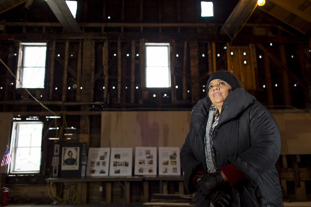Pamela Cummings reflects on the impact of Dr. Martin Luther King Jr. during a visit to the Abyssinian Meeting House in Portland. Ben McCanna/Staff Photographer