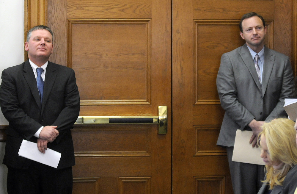 Senate President Mike Thibodeau, R-Winterport, left, and Speaker of the House Mark Eves, D-North Berwick, listen Tuesday to testimony before legislative committees assembled in Augusta to consider a bill they co-sponsored to combat illegal drug sales and drug addiction in Maine.