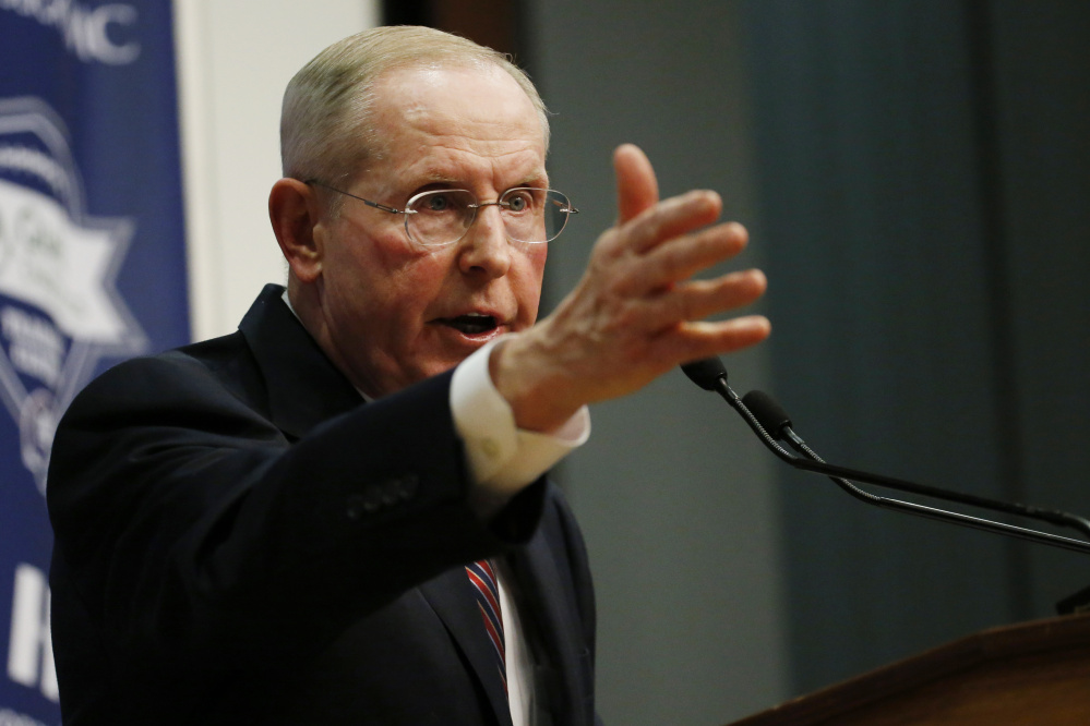 Former New York Giants head coach Tom Coughlin speaks during a news conference Tuesday in East Rutherford, N.J.