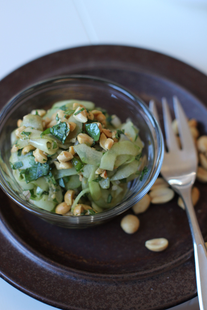 Thai cucumber salad features crunchy cucumbers enhanced with just a bit of citrus, soy sauce and a few other Thai ingredients. (AP Photo/Matthew Mead)