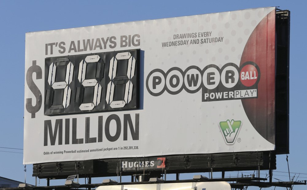 A billboard displays the estimated jackpot for the Powerball lottery in Richmond, Va., on Tuesday. Players will have a chance Wednesday night at the biggest lottery prize in nearly a year.