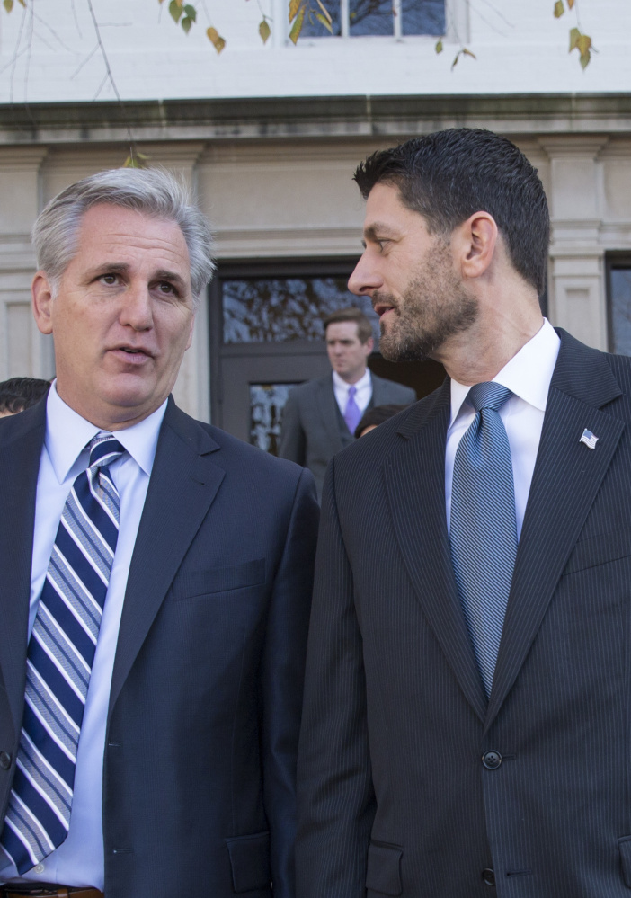 House Speaker Paul Ryan, R-Wis., right, talks with Majority Leader Kevin McCarthy, R-Calif., last month.