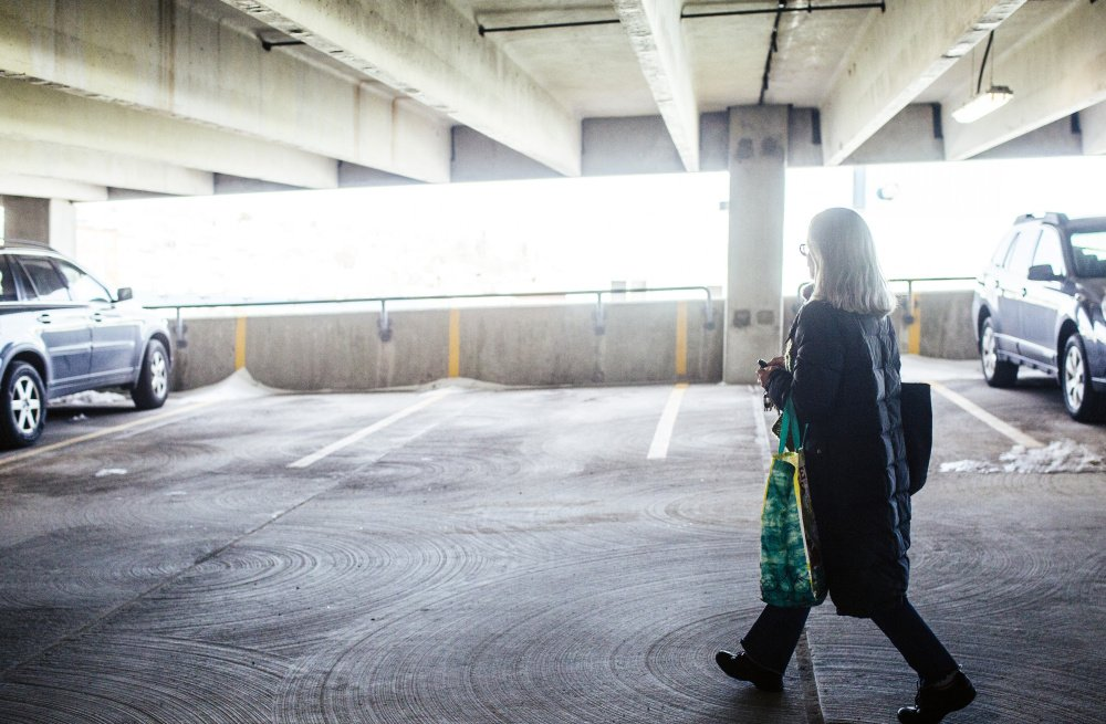 Timmi Sellers walks to her car in the garage, where renovations are scheduled to start Monday.