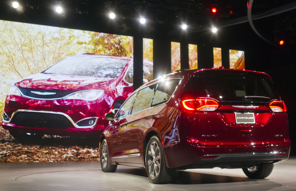 The 2017 Chrysler Pacifica minivan is unveiled Monday at the North American International Auto Show in Detroit.
