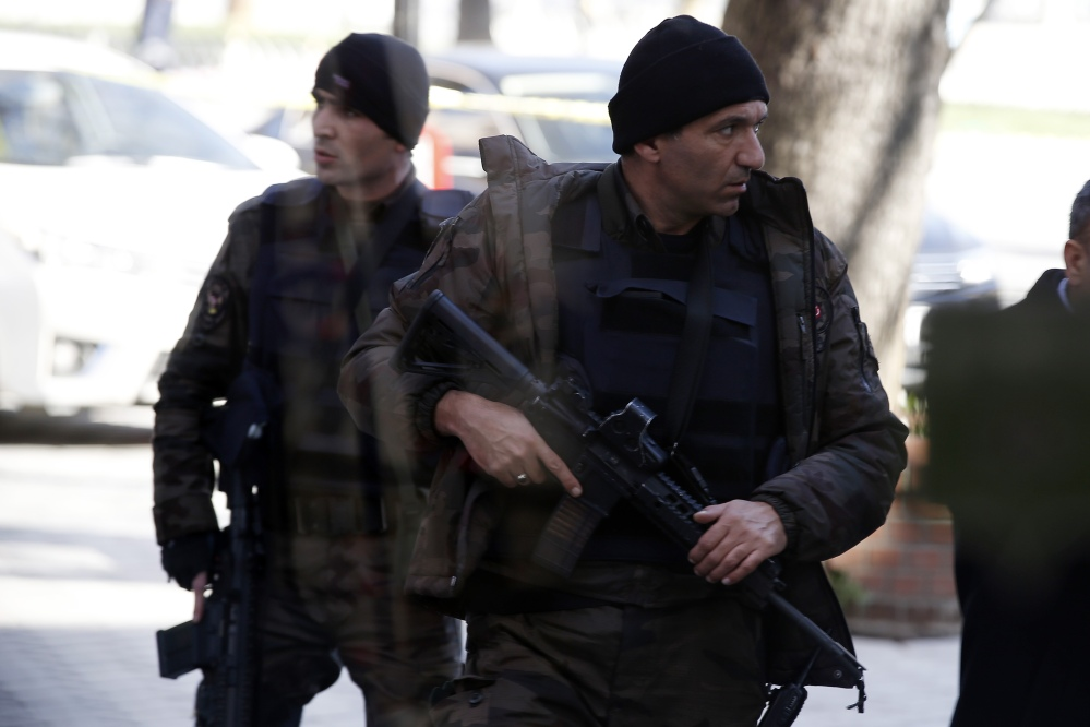 Policemen patrol at the historic Sultanahmet district after an explosion in Istanbul on Tuesday.
