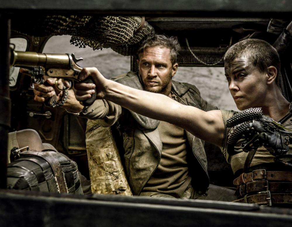 """Tom Hardy and Charlize Theron appear in """"Mad Max: Fury Road,"""" which received 10 Oscar nominations, including best picture and best director."""
