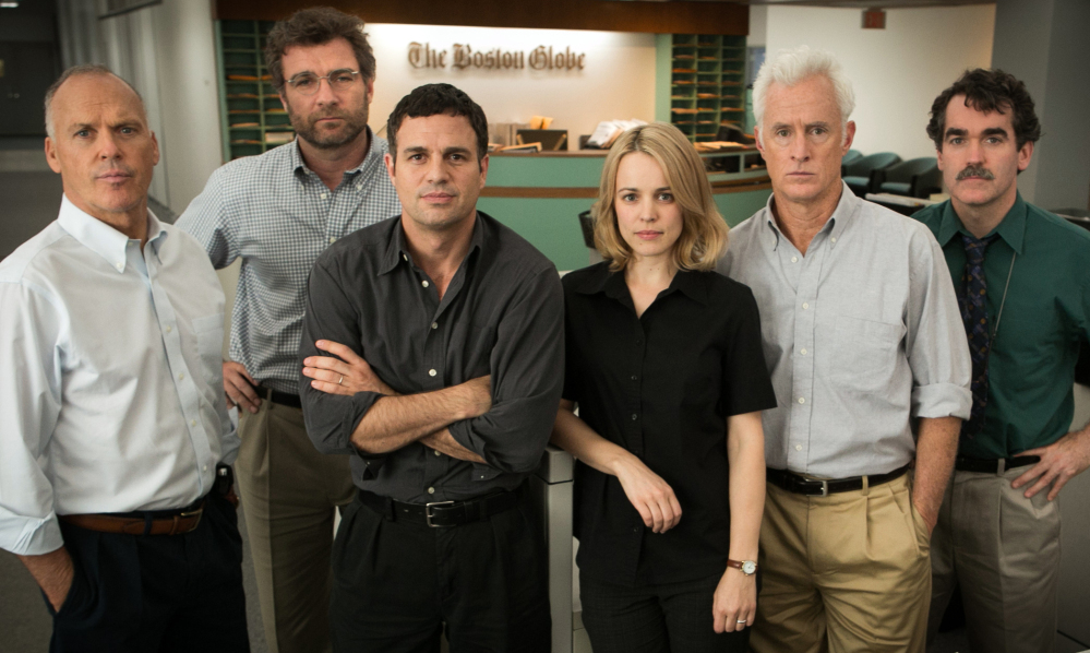 """From left, the cast of """"Spotlight,"""" which received best picture and five other Oscar nominations: Michael Keaton, Liev Schreiber, Mark Ruffalo (supporting actor nominee), Rachel McAdams (supporting actress nominee), John Slattery and Brian d'Arcy James."""