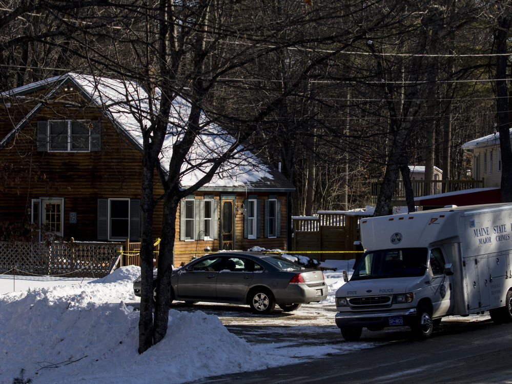 """State police investigate on Jan. 14 at 37 Brookhaven Drive in Windham, where Alicia Gaston, 34, was shot by her husband, Noah, 33, who called 911 shortly after the 6 a.m. shooting. Police charged Noah Gaston on Friday with murder. They say his account of the shooting included """"inconsistent statements."""""""