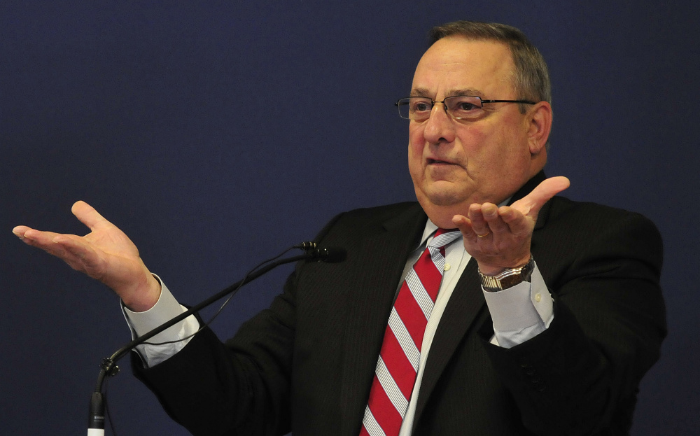 Gov. Paul LePage, at the Mid-Maine Chamber of Commerce breakfast meeting Thursday in Waterville, told attendees that Portland's minimum wage increase violates federal law.