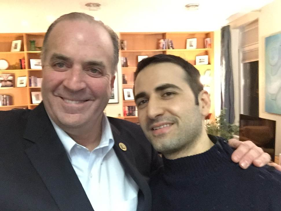 U.S. Rep. Dan Kildee, D-Mich., meets Monday with former Iran prisoner Amir Hekmati at Landstuhl Regional Medical Center in Landstuhl, Germany. Hekmati was detained in August 2011 on espionage charges.