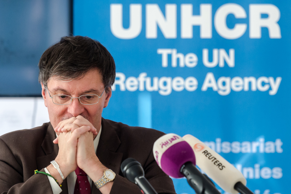 UNHCR representative in Baghdad Bruno Geddo addresses the media on the humanitarian situation in Iraq at the UN Regional Information Centre in Brussels on Tuesday.