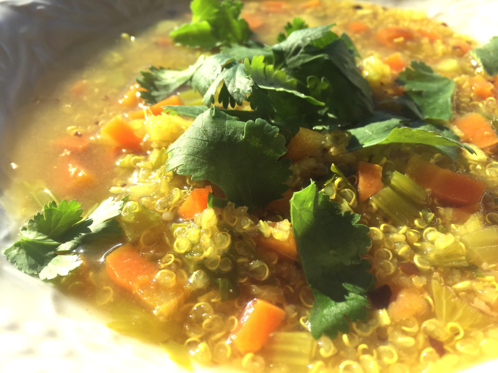 This healing vegetable soup contains garlic, ginger and miso.