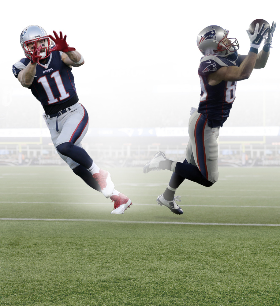 New England Patriots wide receiver Julian Edelman warms up before an NFL divisional playoff football game against the Kansas City Chiefs, Saturday, Jan. 16, 2016, in Foxborough, Mass. (AP Photo/Charles Krupa)