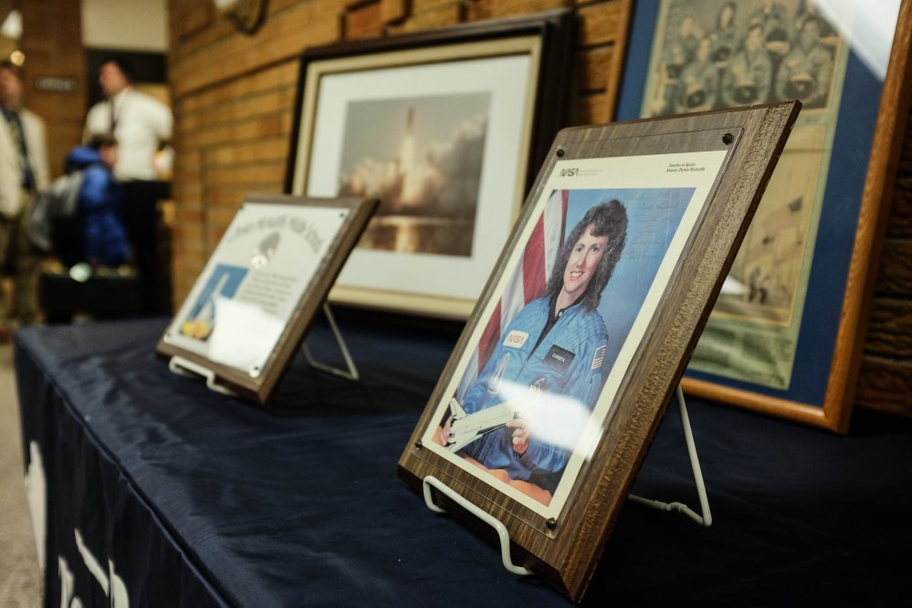 A display in the lobby of Christa McAuliffe Middle School in Bay County's Bangor Township, Michigan, honors the teacher-astronaut who died in the Challenger explosion 30 years ago.